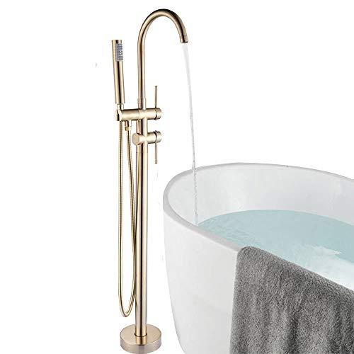 Onyzpily Gebürstete Gold Bodenmontage Badewanne Badezimmer Freistehende Wannenarmatur Mischbatterie ABS Handbrause Mischbatterie 360° Einfüllstutzen mit ABS Bad Kalt- und Heißmischer Duscharmaturen