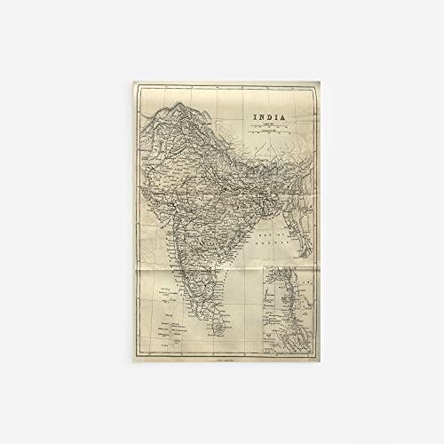 // TPCK // Vintage-Karte von Indien aus dem Jahr 1882 Fotodruck, Poster, Geschenk, alte alte historische Geschichte – A-Größen A3 (29.7 x 42.0cm)