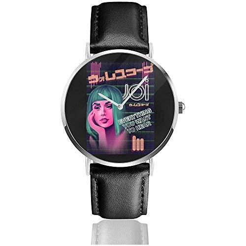 Joi Neon Ad Blade Runner 2049 Uhren Quarzlederuhr mit schwarzem Lederband für Sammlungsgeschenk