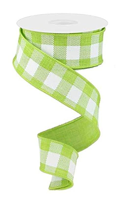 Plaid Check Wired Edge Ribbon - 10 Yards (Lime Green, White, 1.5
