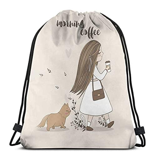 Lmtt Bolsas con cordón, mochila para café de la mañana, bolsas con cuerdas para tirar, almacenamiento deportivo a granel, gimnasio para adultos, mochila de viaje grande, talla única