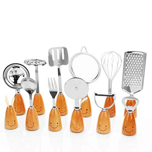 Cooking Kitchen Set, TDCQQGQQ 12 Pieces of Stainless Steel Wooden Handle Kitchen Utensil Sets, Kitchenware with Smiling Faces Stirrer Kitchen Peeler Set Tool,Cute Adult Kids Kitchen Gadgets