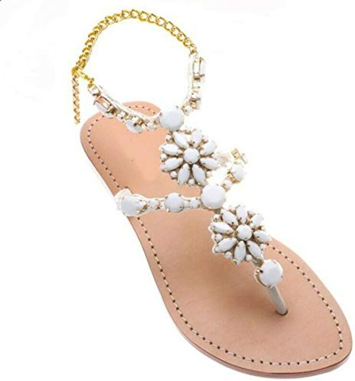Tswsq Women Sandals Clip Toe Sandals Beach shoes Rhinestone Ankle Strap Slingbacks