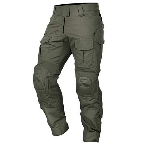 IDOGEAR G3 Combat Pants Multicam Men Pants with Knee Pads Airsoft Hunting Military Paintball Tactical Camo Trousers (Ranger Green, 36W/33L)