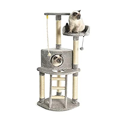 AmazonBasics Cat Condo Tree Tower With Scratching Post And Step Ladder - 19 x 19 x 52 Inches, Light Grey