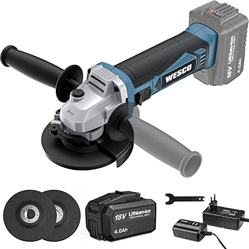 Angle Grinder, WESCO 18V 4.0Ah Cordless Angle Grinder, 8000 RPM Motor, disc Ø: 115mm with Additional Handle and 3 Metal Grinding Discs, Ideal for Carpenters, Builders, Electricians WS2941.1