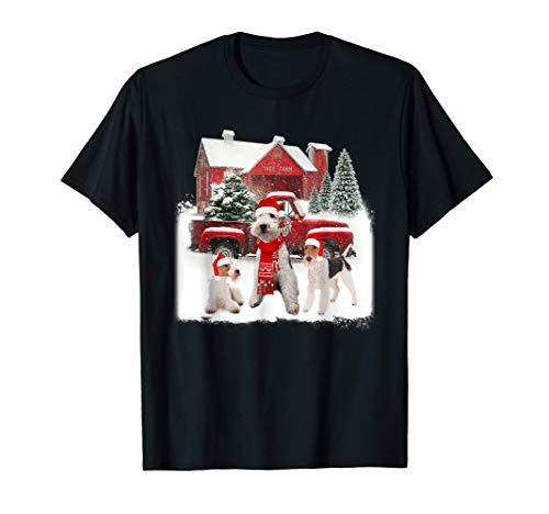 Wire fox Terrier Santa Hat Red Truck Tree Farm Christmas T-Shirt