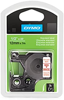 "DYMO D1 Labels, 1/2"" x 23' Roll, Red Print on White, Self-Adhesive (1761281), DYMO Authentic"