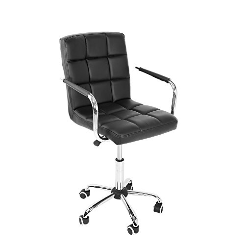 Computer Office Desk Chair With Arm, PU Leather Cushioned Swivel Gas Lift Stool Adjustable Height Home Office Armchair (Black)