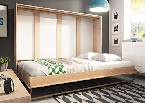 Arthauss Modern Bedroom Horizontal Fold Away Pull Out Murphy Bed in Sonoma Oak in 3 Sizes sold (90 x 200cm)