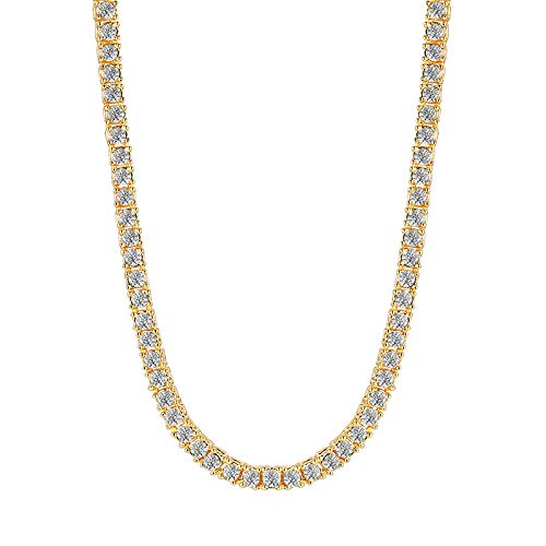 Necklace Pendant Chain Jewelry Hip Hop Cubic Zircon Chain Necklaces For Men Women Collar Xmas Gifts Jewelry-Gold-Color_60Cm