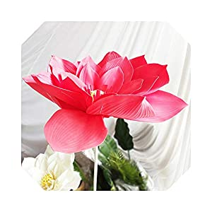 Silk Flower Arrangements MUZIBLUE Babies Breath Flowers Artificial  Artificial Flowers Flower Head Simulation Lotus Large Foam Fake Flowers for Decoration Wedding-Red-Diameter cm