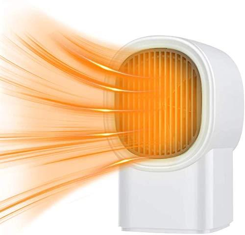 VOKY Portátil Calefactor Eléctrico 400W, Mini Calentador de Ventilador,Mini ventilador de calentador de espacio con ajustes de ventilador natural de calor, para escritorio de oficina en casa-blanco