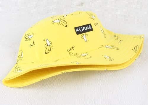 Sombrero de Cubo para Hombres y Mujeres, Gorra de Cubo de Verano con Estampado, Sombrero Amarillo, Gorros de Hip Hop, Sombrero de Pescador de Pesca-Yellow