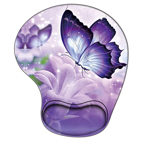 Flower Mouse Pad with Wrist Support, Ergonomic Gaming Mousepad Non-Slip Soft Sensitive Material, Butterfly Flowers Pattern Mouse Pads as Home Office Desktop Accessories or Ideal Gift