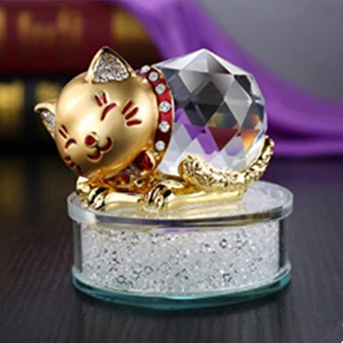 MIANJUMJ beeldhouwwerk kleine sculptuur, gouden diamond kristal lucky cat nieuwe auto decoratie auto sieraden parfum rack
