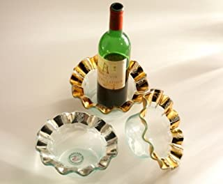 Annieglass Glass Wine Coaster Ruffle with Gold Band