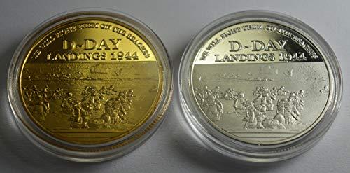 The Commemorative Coin Company - Par de conmemorativos del Día D de la Segunda Guerra Mundial en cápsulas, Plata, Oro de 24 Quilates. Sir Winston Churchill. Coleccionistas/álbumes