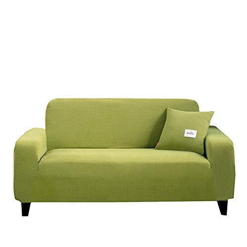 XIAOYAN Funda de sofá Universal Todo Incluido Funda de sofá elástica Antideslizante Funda de sofá Vintage de Cuero Funda Completa cojín de sofá de Tela-Verde_Asiento Doble (145-185cm)