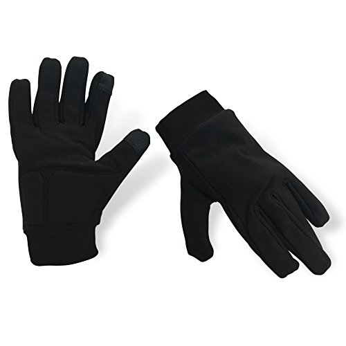 Water-Resistant Ice Skating Gloves with Protective Padding, Touchscreen Fingertips, Fleece Lining (All Black, Large)