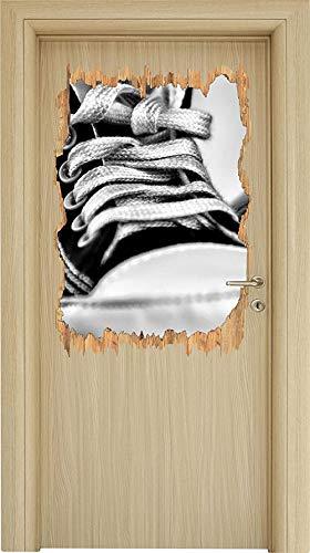 UYEDSR Muursticker Monocrome Converse All Stars schoenen hout doorbraak in 3D look muur of deur sticker muursticker muursticker wanddecoratie 62x42cm