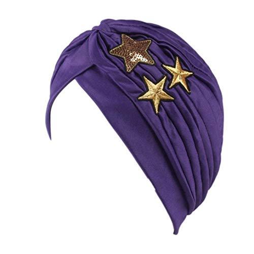 Cáncer De La Mujer Maquillaje Alopecia Higiene Quimioterapia Moda Sombrero Pliegue Elástico Turbante Joven Negro Amarillo Rosa Azul Púrpura Con Estrellas Women
