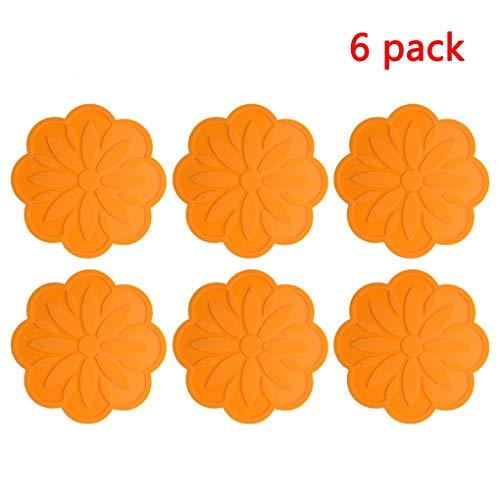 6 pack Isolations-Pads Silikon Tischmatte Haushalts Antiverbrühschutz Pad Coaster coaster Mehrzweck Isolierung flexible dauerhaft (Color : Orange)
