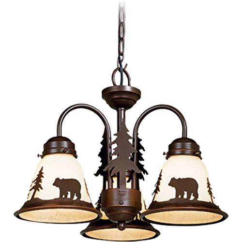 3 Light Burnished Bronze Rustic Bear Ceiling Fan Light Kit...