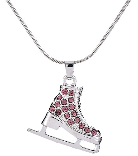 3D Adorable Crystal Ice Skate Charm Pendant Necklace For Girls women (Purple)