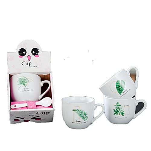 Un juego de 4 tazas de cerámica creativas tazas de café taza express tazas de dibujos animados-hierba de cuatro hojas_180ml-250ml