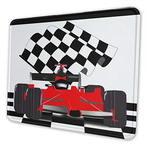 Romttchels Red Race Car with Checkered Mouse Mat Anti-Slip Gaming Mouse Pad Horizontal for Computer, Laptop, Office, Gaming, Home(Multi-Yardage)