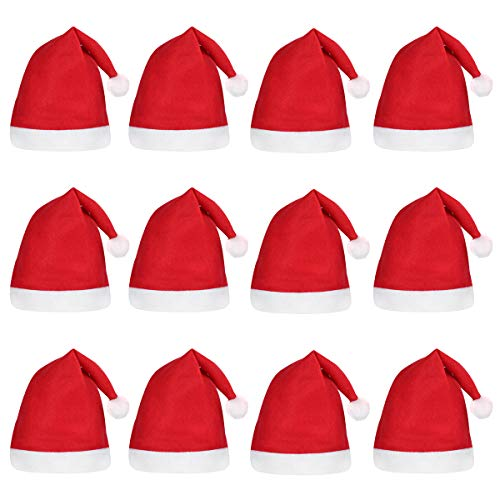 TINKSKY Santa Hats Christmas Hats for Children 12pcs