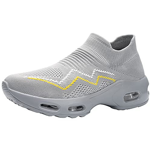 DKMILYAIR Zapatillas de Seguridad Mujer Ligeras Respirable Colchón de Aire Zapatos de Seguridad Trabajo Punta de Acero Calzado de Seguridad Deportivo (Gris No Impermeable,39 EU)