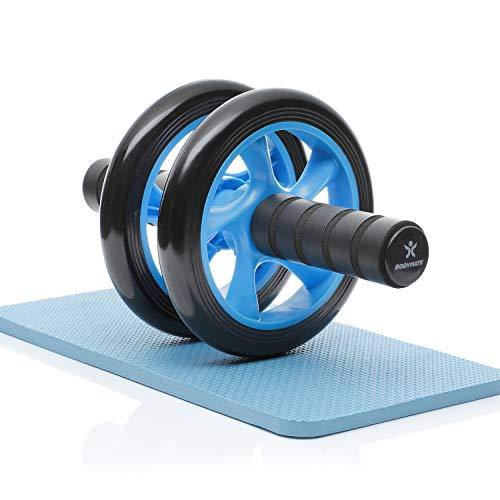 BODYMATE AB Roller Classic, Bauchtrainer zur Stärkung der Core-Muskulatur, Fitnessgerät für Zuhause, Bauchmuskeltrainer inkl. Kniepad, 28 x 16 cm (L x Ø), in Blau