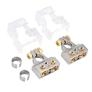 AUTOUTLET 2PCS Terminales de Bateria de Coche 0/4/8/10 AWG Conectores de Batería Abrazadera de Terminal Positivo…