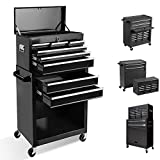 Tool Chest with 8 Drawer,High Capacity Rolling Tool Box Removable Tool Storage Cabinet with Locks,Rolling Tool Storage Cabinet with 4 Wheels for Garage and Warehouse (New Black)