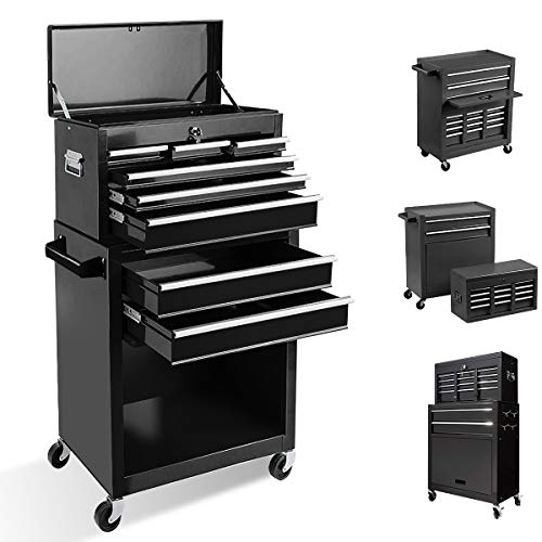 Tool Chest with 8 Drawer,High Capacity Rolling Tool Box Removable Tool Storage Cabinet with Locks,Rolling Tool Storage Cabinet with 4 Wheels for Garage and Warehouse (Black)