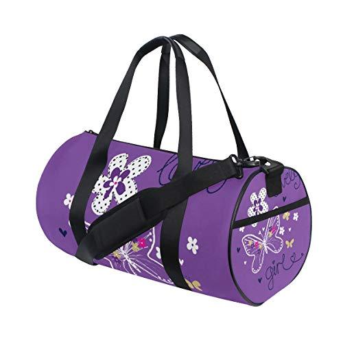 ZOMOY Sporttasche,Schöne Schmetterlings Gruß Einladungs Karte Buttefly,Neue Druckzylinder Sporttasche Fitness Taschen Reisetasche Gepäck Leinwand Handtasche