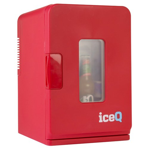 iceQ 15 Litre Deluxe portable mini fridge with window in red