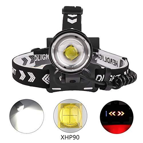 XHP90.2 Lampada de Testa LED ricaricabile, 10000 lumen Lampada frontale super luminosa Zoomable 3 modalità Torcia frontale Micro Input & Output Torce frontali per il campeggio