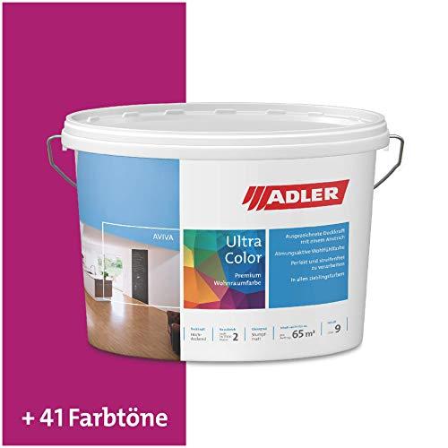 ADLER Ultra-Color Wandfarbe - Volltonfarbe und Abtönfarbe in 100+ Farbtönen - Rosinen C12 010/4 Violett 1 l Atmungsaktiv, Hochdeckend, Lösungsmittelfrei