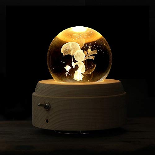 TONGDAUR Carillon Music Box di Legno Music Box della manovella Crystal Ball Decoration (Color : Little Prince, Size : Gratuito)