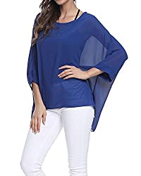 Batwing Sleeves, Loose and relaxed. Semi-sheer chiffon material drapes elegantly for a flattering fit.Perfect for spring and summer festivals, beach wear, casual wear or street wear.suitable for a variety of occasions. Size: One Size Fits Most People...