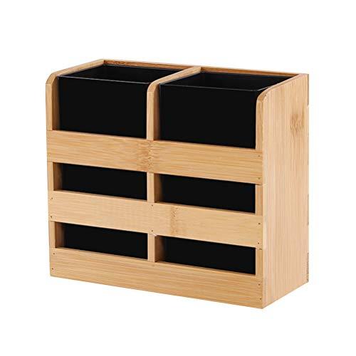 TOPBATHY - Soporte Multifuncional para Utensilios de Cocina de bambú para Guardar Cubiertos, Palillos y Utensilios de Secado, Organizador de Utensilios de Cocina con 2 macetas