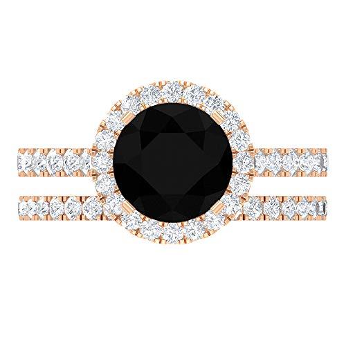 Rosec Jewels - 14 Kt Rotgold Rund Brilliant Rund Black Hochfeines Weiß +/River (D), Hochfeines Weiß/River € Künstlicher schwarzer Diamant. Moissanit