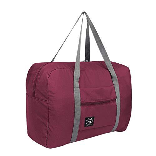 Camisin Multifunction Large Capacity Casual Folding Waterproof Luggage Storage Bags Suitcase Travel Pouch Handbag Organizer Tote Bag Burgundy
