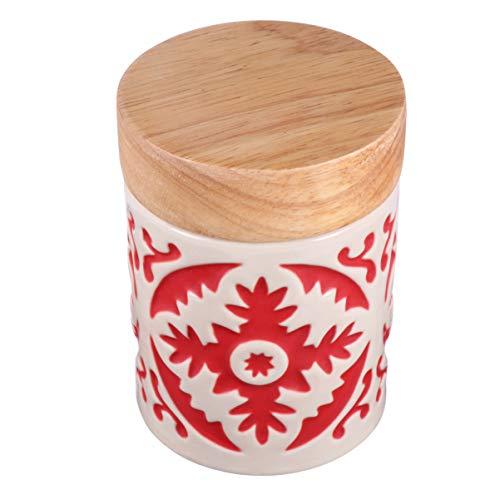 Hemoton - Recipiente de cerámica para alimentos con tapa de cierre hermético para cocina, café, té y especias (rojo)