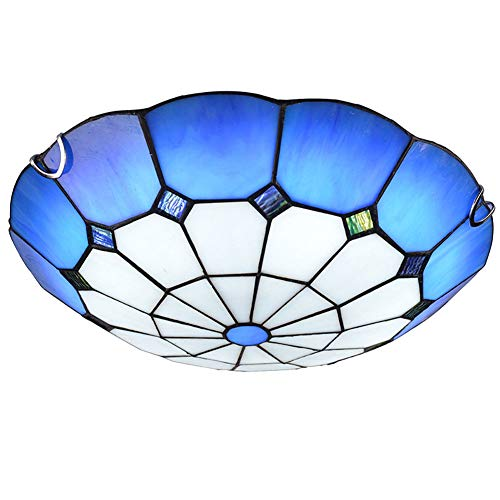 Cclight Vidrieras Cúpula Montaje Empotrado Lámpara De Techo,Vintage Estilo Tiffany Mano-Hecho Plafón Azul Y Blanco Sombra De Cristal Lámpara para Dormitorio Interior-E27 30cm
