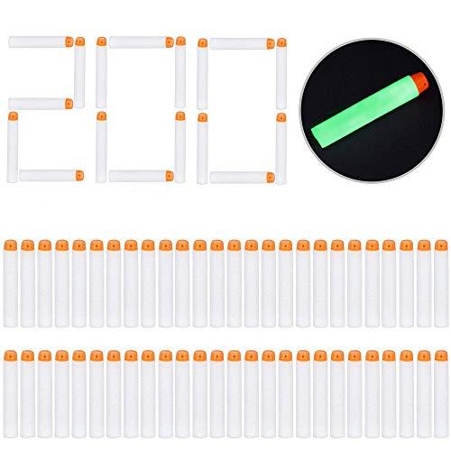 LVHERO 200 Pfeile Dart Bullets für Nerf N Strike Modulus Spielzeugblaster, Glow, weiß