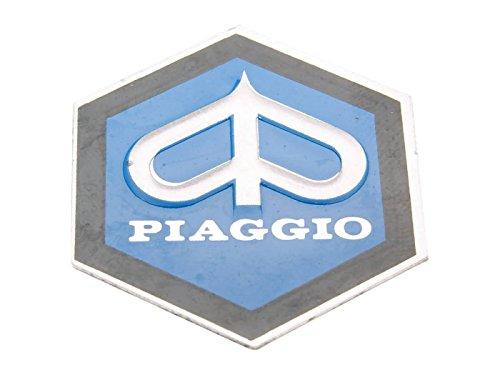 Emblem Piaggio zum Kleben 6-eckig 31x36mm Aluminium für Kaskade für Vespa PK50, PK80 82-88